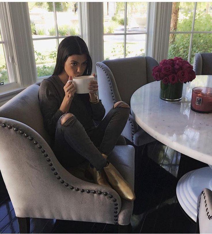 Love Kourtney Kardashian kitchen table & chairs / cozy kitchen / would do a wood table for modern farmhouse