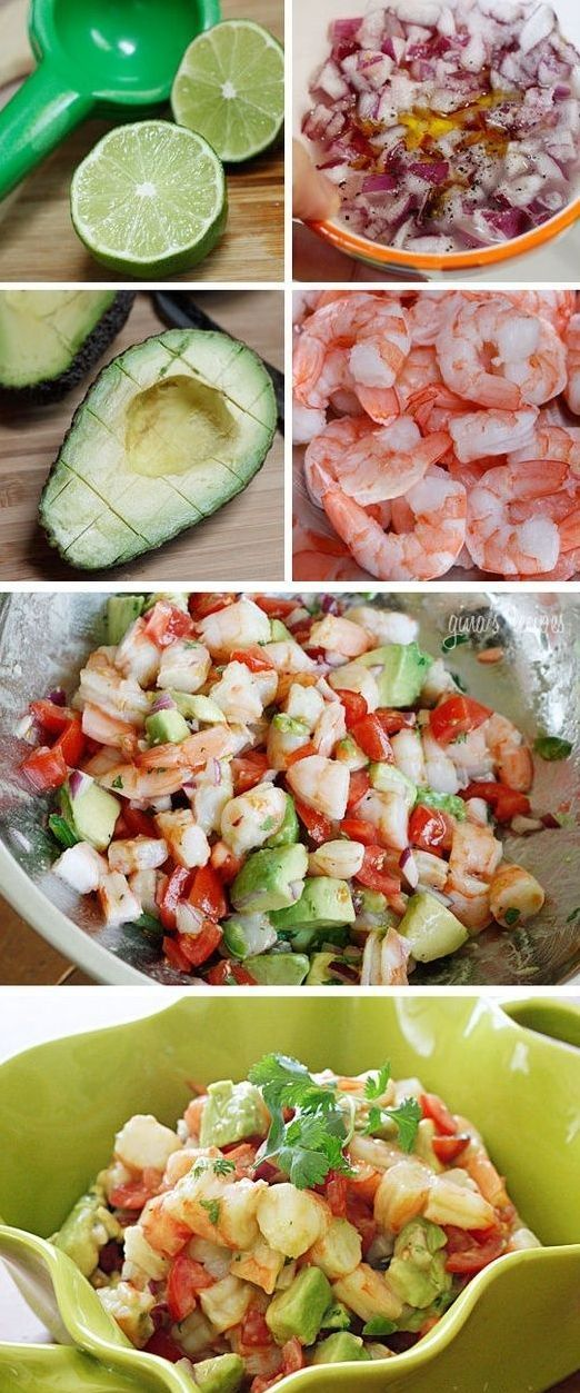 Zesty Lime Shrimp & Avocado Salad – shrimp, avocado, diced red onion, chopped tomato, olive oil, fresh lime juice, cilantro, salt and pepper