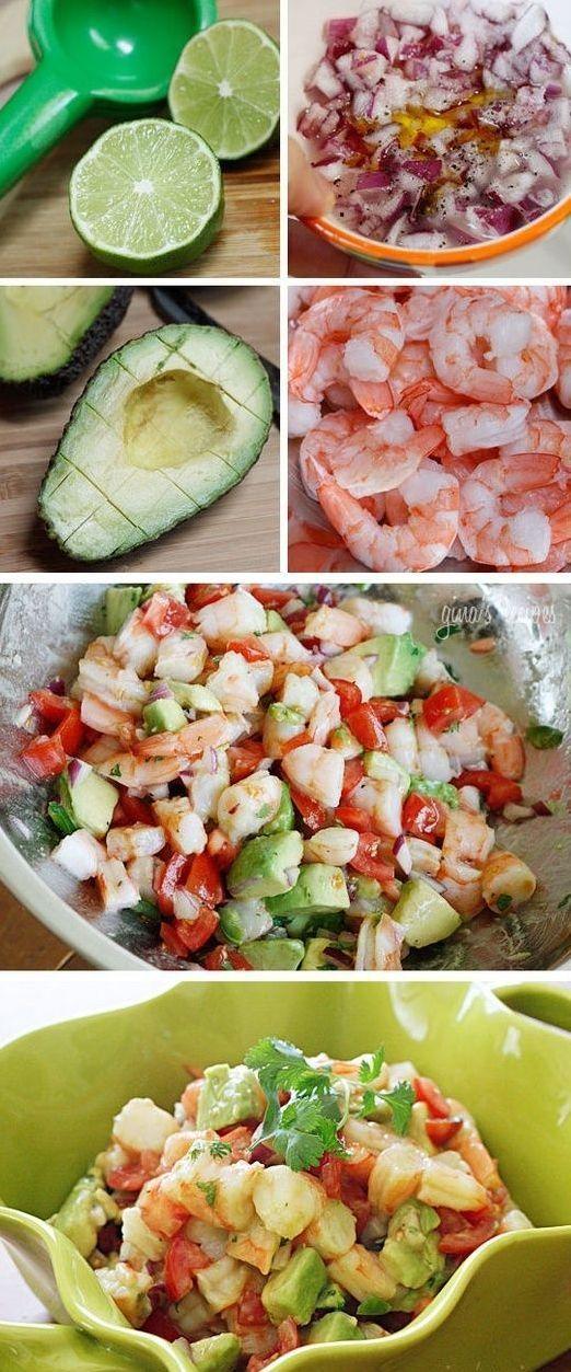 Zesty Lime Shrimp & Avocado Salad – shrimp, avocado, diced red onion, chopped tomato, olive oil, fresh lime juice, cilantro, salt and pepper