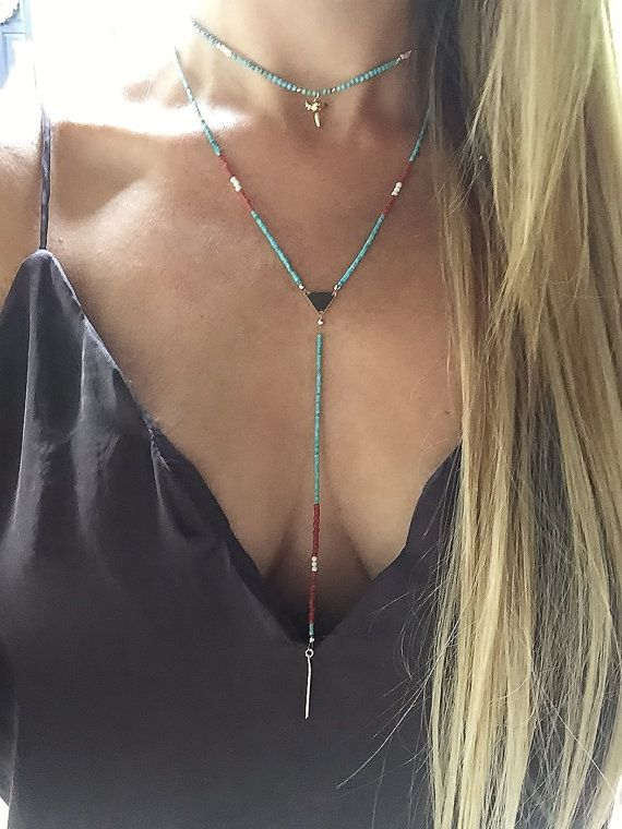 Boho Lariat Necklace Turquoise Necklace Lariat by TatiRocks