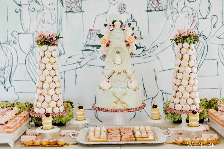 "Completing this spectacular ""Ladies who Lunch at Laduree"" #Toronto #bridalshower dessert table was a backdrop illustrated by creative cake connoisseur Nadia and Co. and the bride-to-be! 