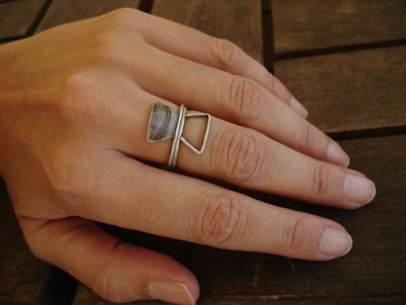 Silver Geometric Rings - Stackable Silver Rings- Double Axe Design - Minimal Jewelry for her - Trapezoid ring set- Shabby Chic Rings