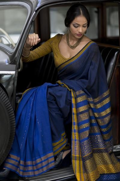 Blue Handloom saree mixed with bronze gold  lurex