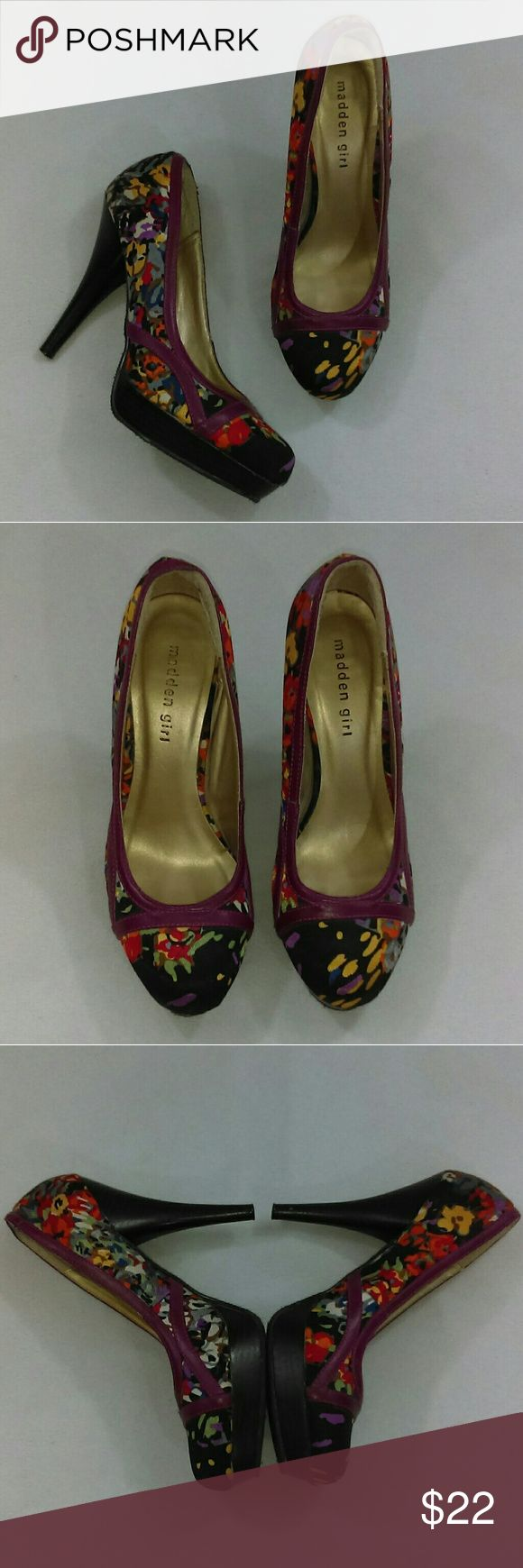 """Madden Girl Alexsa Fall Floral Stiletto Heels Great condition heels. Fabric and heels are in excellent condition. Soles have some peeling of a plastic coating, but otherwise are great. Right shoe is bent a bit at top of back heel, as seen in pictures. Heels are 5"""". Madden Girl Shoes Heels"""