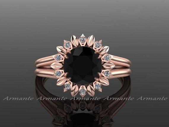 Sun Flower Engagement Ring, Black Diamond Engagement Ring, Diamond Ring, Rose Gold, Wedding Ring Right Hand Ring. RE00032