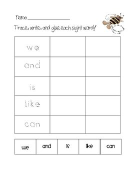 Trace, Write, & Glue Sight Word Center FREEBIE