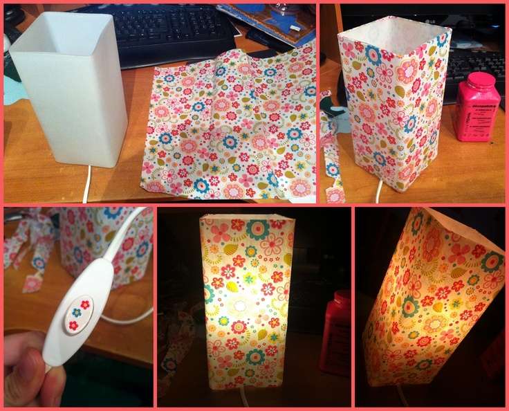 Une lampe à 3,99€ toute simple, une feuille de decopatch bucolique à 0,80€, et 1/2 heure plus tard, une jolie petite lampe pour ma poupette, parfaite pour la lecture et les calinous du soir!  J'ai même poussé le vice en mettant des petites fleurs sur l'interrupteur ^^
