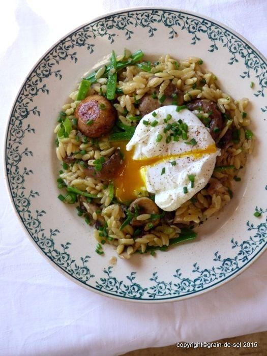 grain de sel - salzkorn: Aprilpasta: Pilz-Risoniotto mit Zuckererbsen, Schn...