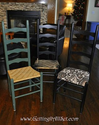 Ladder-back chairs - 14 of them for a narrow long Dinning Room table-someday!