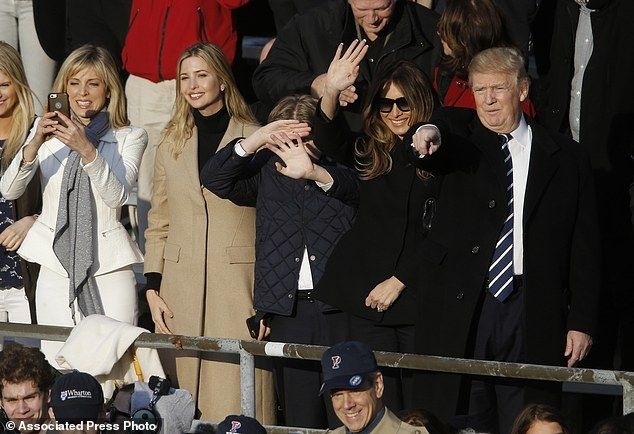 Happy family: Ms Maples and the Trumps (from left, Ivanka, Barron, Melania and Donald Trum...