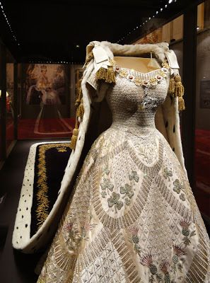 Queen Elizabeth's Coronation Dress and Robe by Norman Hartnell and Ede and Ravenscroft on display at The annual Summer Opening of Buckingham Palace, Summer 2013