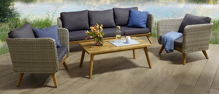Loungeset »Stockholm«, 14-tgl., 3er Sofa, 2 Sessel, Tisch, Polyrattan/Alu/Holz für 999,99€. Gartenmöbelset für 5 Personen geeignet bei OTTO