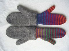 Mittens with liners. How to customize a generic mitten pattern. Ravelry: Pride Mittens pattern by Catherine Gamroth {free}