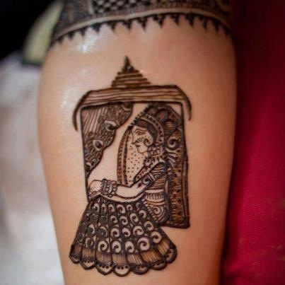 Bridal Henna - Beautiful Henna Design. An Indian Bride in a 'doli' meant for transporting her to the groom's side in ancient times! a custom which can be still seen!
