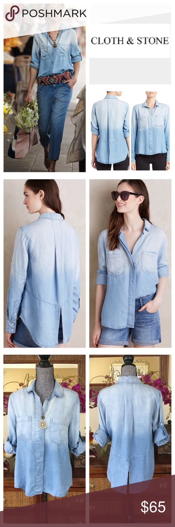"""🆕Anthropologie Cloth & Stone Ombré Splittail.NWOT 🆕 Anthropologie Cloth & Stone Chambray Ombré Button Down Split Tail Shirt, 100% tencel, machine washable, 19.5"""" armpit to armpit (39"""" all around), 18.5"""" arm inseam, 25"""" shortest front length, 28"""" longest back length, concealed button front, ombré fading, spread collar, two breast pockets, back pleat, rolled tab sleeve, long sleeves, high low hem, split tail, measurements are approx.  New without tag, never worn.  NO TRADES Anthropologie…"""