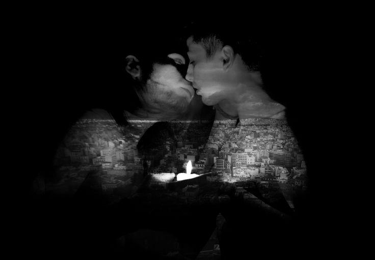double exposition, portrait, black&white, bw, love, light