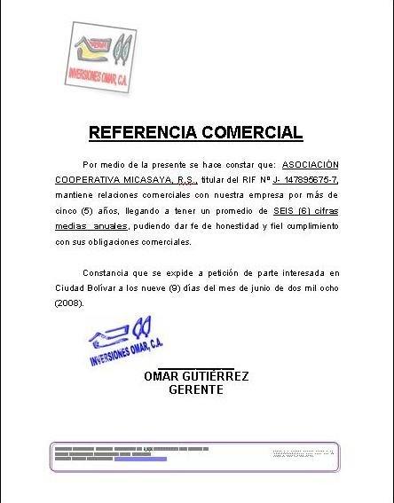Carta de referencia Comercial : FORMATOS Y MODELOS LEGALES