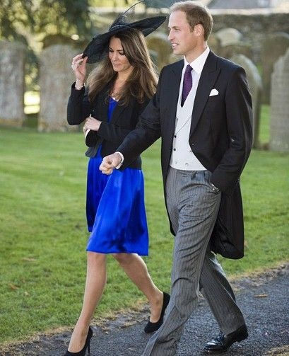Prince William, with Kate Middleton, in morning dress at a friends wedding last October