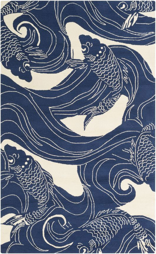 Colorful Area Rug Inspired By A Traditional Koi Pond Pattern Of Swirling Waves And Fish