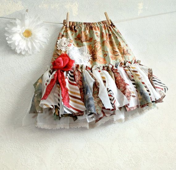 Brown Earth Tone Fairy Skirt Shabby Chic Clothing Eco Friendly Party Clothes Children's Clothes Tattered Skirt Girl's Size 6 7 'PEYTON' on Etsy, $74.69 AUD