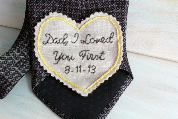 Father of the Bride Gift.  Father of the Bride Tie. Gift for Dad. Embroidered Tie Patch. Wedding Embroidery. Wedding. Mens Ties. on Etsy, $35.00