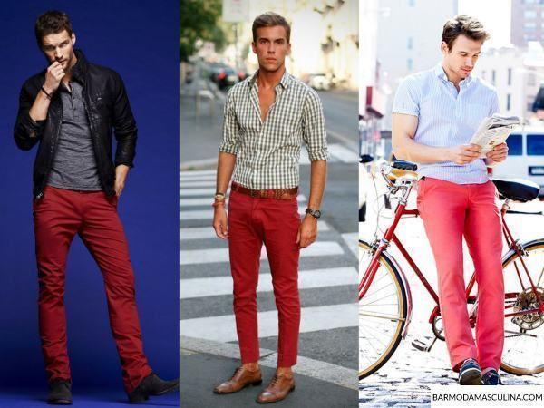 Como usar calça vermelha masculina. Vejam as cores que combinam com a calça vermelha para homem e onde comprar.