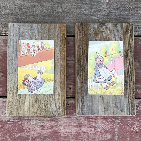 Raggedy Ann Stories | 1961 | Peace by Piece Reclaimed Wood Childrens Book Prints | Reclaimed Fence Board Hand Crafted in: Sonoma Valley, California, USA -- Peace by Piece, Reclaimed...