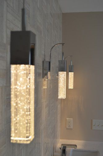 """Beautiful bedroom or bathroom lighting """"Fizz III"""" shimmering glamorous wall sconce by ET2 at Ferguson.com"""