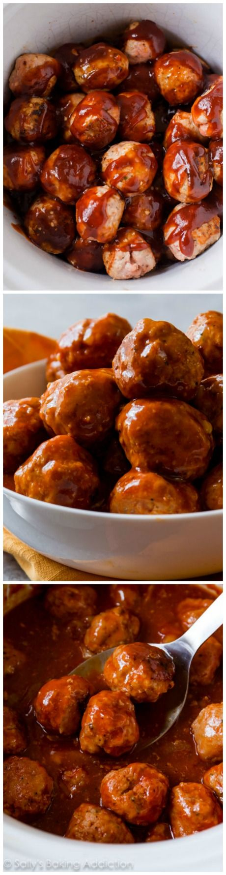 Easy crockpot meatballs whipped up in the slow cooker and smothered in zesty BBQ sauce made from only 2 ingredients!! Dinner or appetizer worthy!