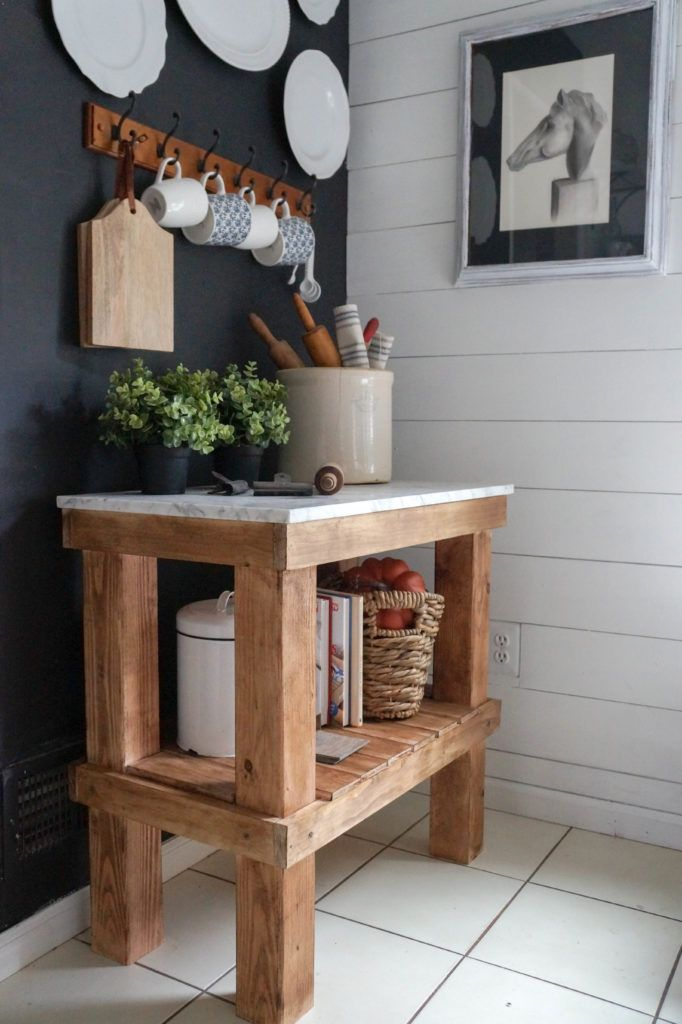 DIY Rustic Bar Cart with Marble Top