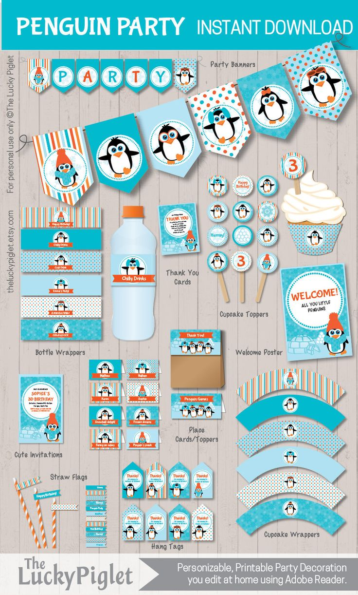 Penguin Party Printables for a Penguin Birthday Party or Penguin Baby Shower.                                                                                                                                                                                 More