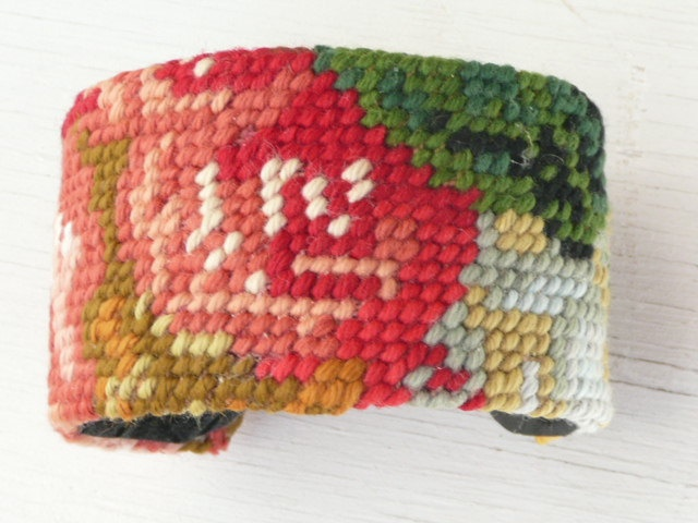 Brigitte cuff - french OOAK needlepoint vintage fabric - floral design - upcycled vintage. $27.00, via Etsy.