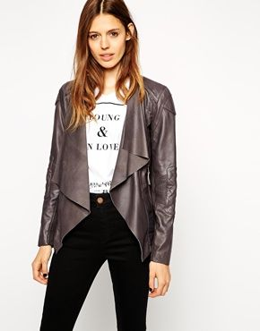 Enlarge ASOS Leather Jacket With Waterfall Front And Quilt Detail
