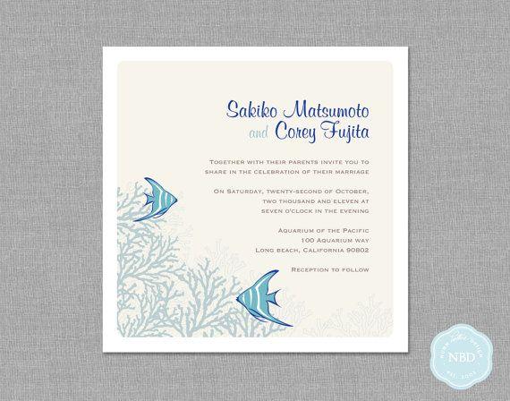 Underwater Wedding Invitation  RSVP Card by NunnBetterDesign