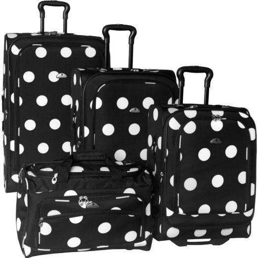 Black And White Polka Dot Luggage Set