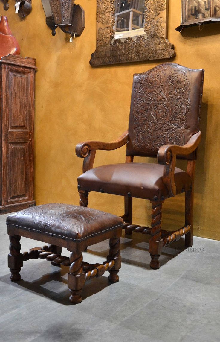 custom spanish style furniture. The Silla Chapital With Arms Is Paired Footstool, Both Showcasing Many Custom Spanish Style Furniture C
