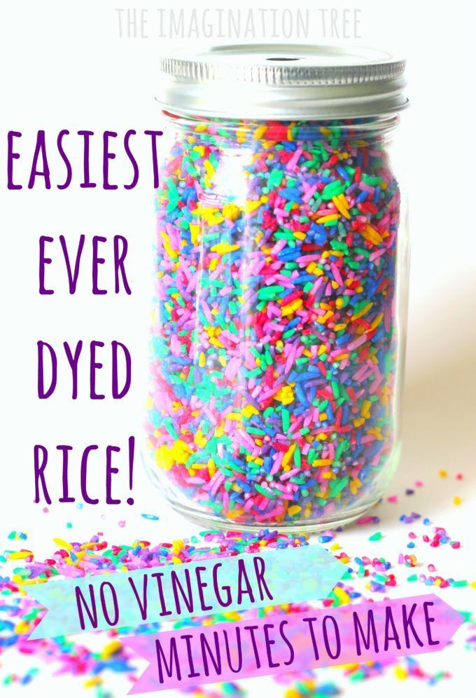 This is the best ever way to dye rice for sensory play! No vinegar- takes minutes!