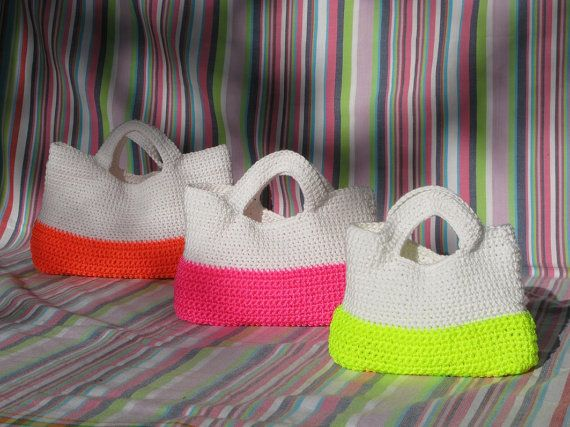 Superb Crochet FLUORO Bags by Chompa on Etsy