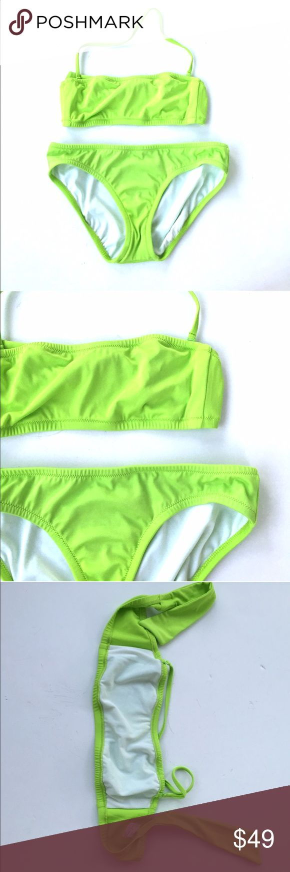 J. Crew lime green bandeau bikini top Pretty lime green color. Size small. Gently used.  Light fraying on back side of bottoms near seam.  $100 retail value. Bottom size small petite.   •no trades•no offsite transactions•no low balls•offers considered through the offer feature only!•save when you bundle• iir• J. Crew Swim Bikinis