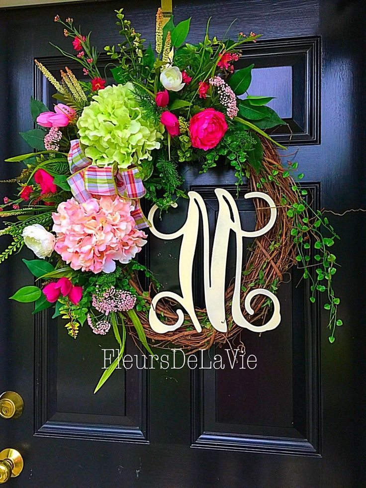 A personal favorite from my Etsy shop https://www.etsy.com/listing/235708399/front-door-wreath-summer-wreath-monogram