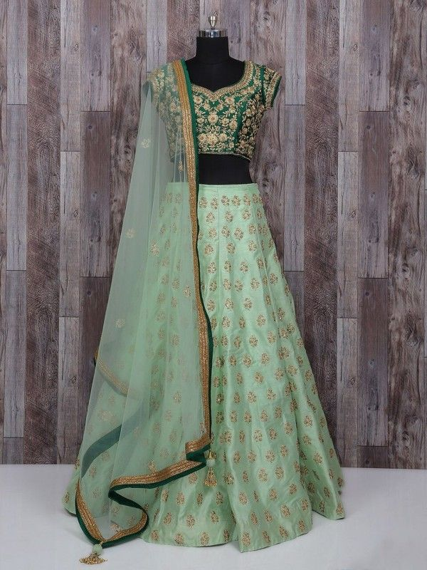 Sea Green Lehenga Choli In Raw Silk Fabric