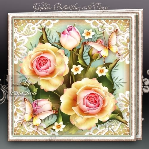 Golden Butterflies with Roses Mini Kit: 4 sheets for print with decoupage for 3D effect plus few sentiment tags (for your own personal text)