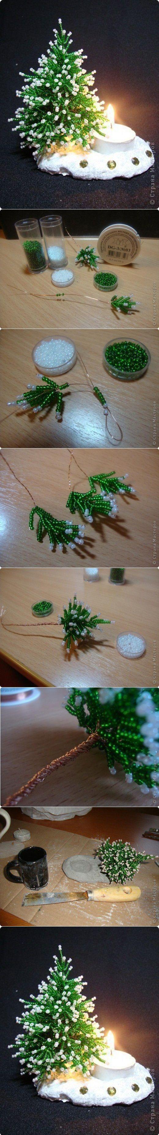 Herringbone Beads Miniature Christmas Tree