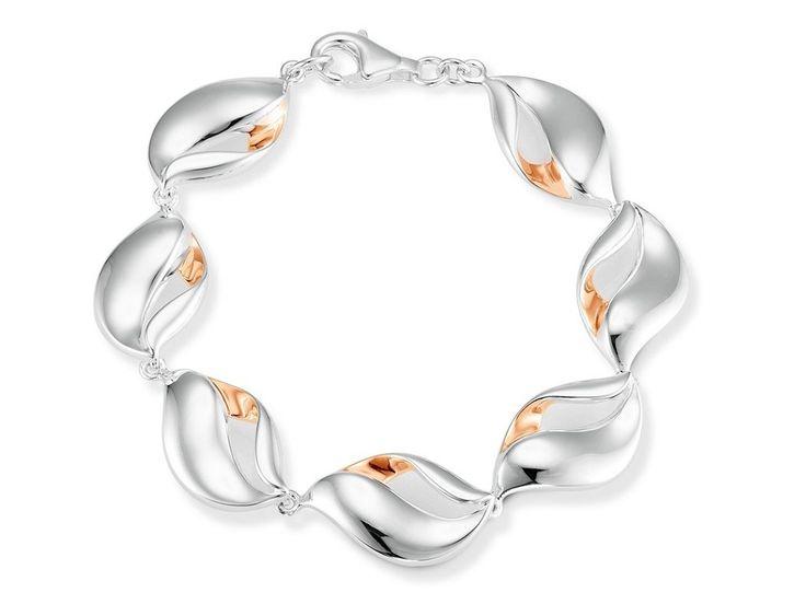 Aagaard armbånd der er ekstra elegant og smukt designet: Armbåndet består af sølvled, hvor hvert led har én forgyldt flade i rosé <3 #aagaard #jewellery #smykker