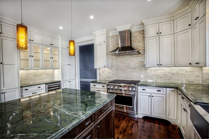 Kitchen Island Different Color Part - 18: Griffin Custom Cabinets - Home Kitchen Commercial Stove, Stainless  Farmhouse Sink, Subway Tile