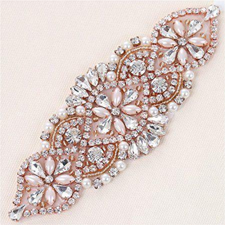 Oro rosa apliques apliques de novia apliques de diamantes de