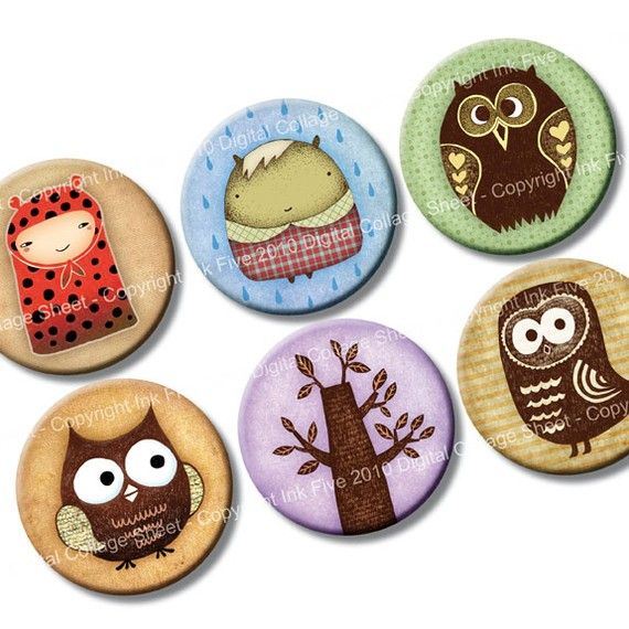 1 inch circles Owls and Woodland Creatures Digital Collage Sheet for bottle caps, cupcake toppers, magnets, embellishments. Digital download