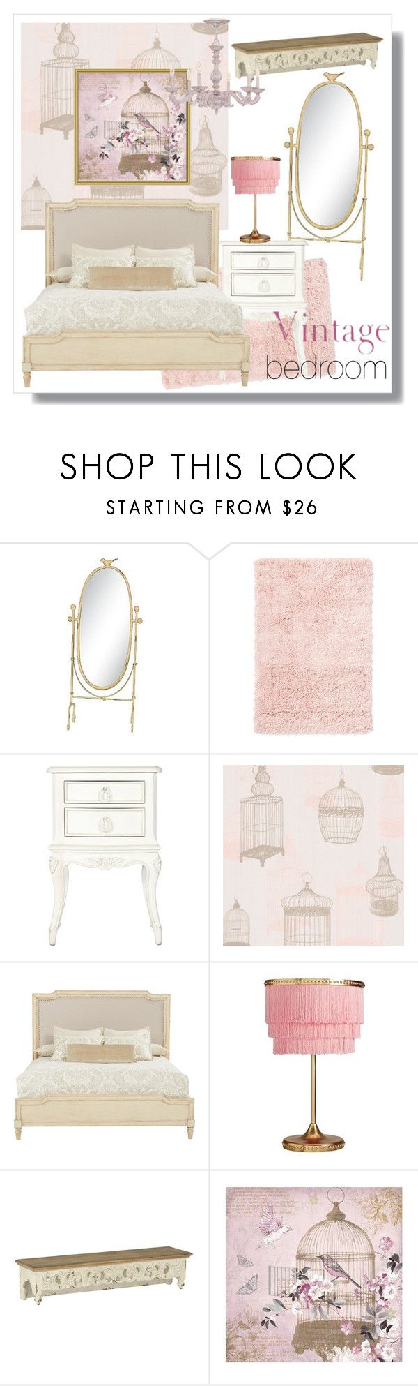 """""""vintage bird bedroom"""" by artistic-biscuit ❤ liked on Polyvore featuring interior, interiors, interior design, home, home decor, interior decorating, 3R Studios, Room Essentials, Shabby Chic and Brewster Home Fashions"""