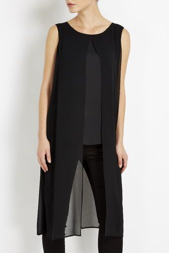 Black Split Hem Longline Top