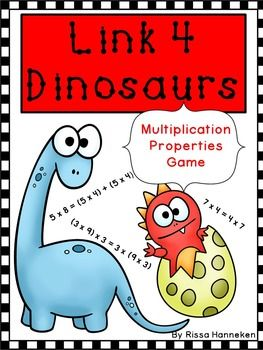 Link 4 Dinosaurs Multiplication Properties GameYour students need lots of practice with the Properties of Multiplication in order to gain mastery.  Link 4 Dinosaurs is a fun way to help them achieve it.  The goal of the game is to link four dinosaurs by matching the multiplication fact card to a corresponding fact for the distributive, commutative, associative, identity or zero property of multiplication.Included in this fun game:4 Multiplication Properties Game Boards16 Multiplication Fact…
